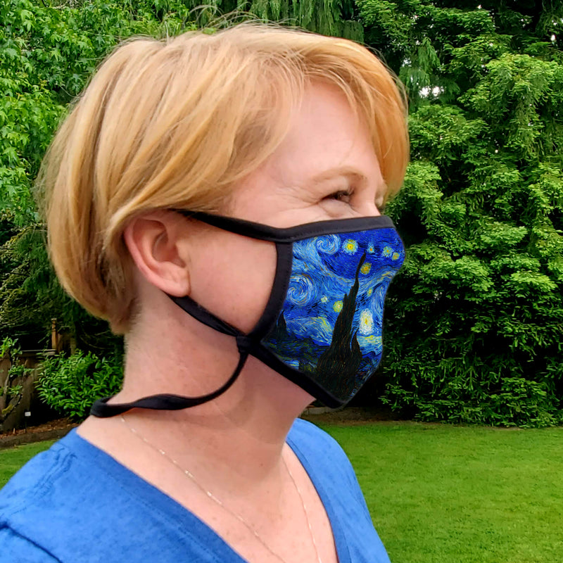Buttonsmith Van Gogh Starry Night Youth Adjustable Face Mask with Filter Pocket - Made in the USA - Buttonsmith Inc.