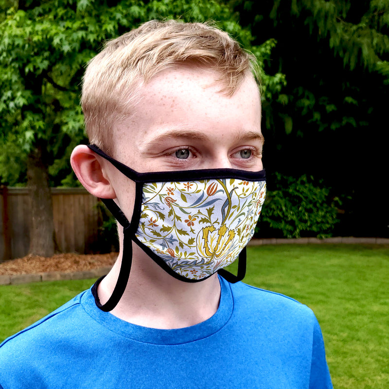 Buttonsmith William Morris Flora Youth Adjustable Face Mask with Filter Pocket - Made in the USA - Buttonsmith Inc.