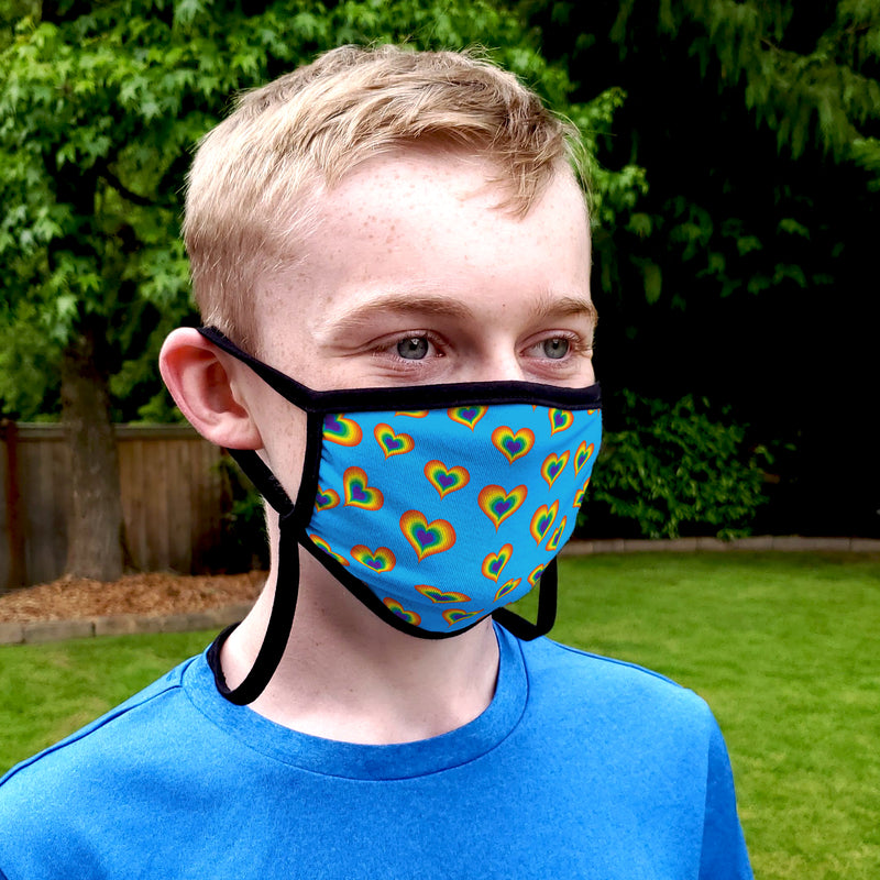 Buttonsmith Rainbow Love Adult Adjustable Face Mask with Filter Pocket - Made in the USA - Buttonsmith Inc.