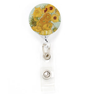 Buttonsmith VanGogh Sunflowers Tinker Reel Retractable Badge Reel - Made in the USA