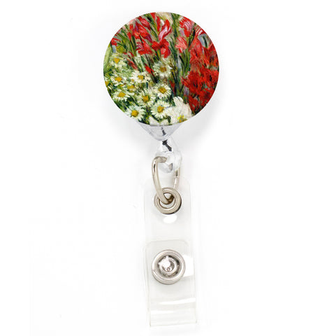 Buttonsmith Monet Gladiolas Tinker Reel Retractable Badge Reel - Made in the USA