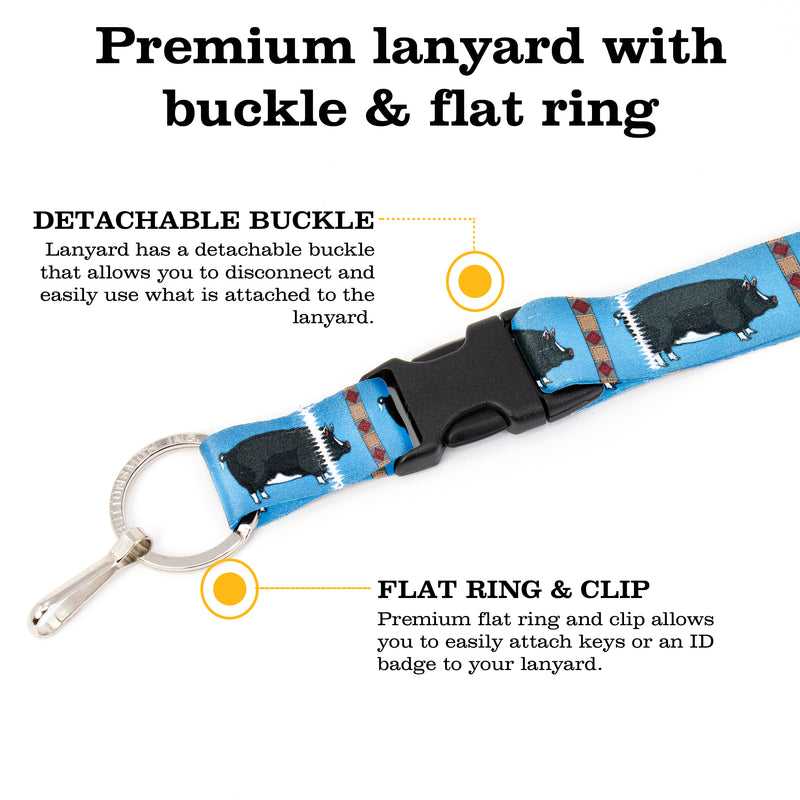 Buttonsmith Pig Premium Lanyard - with Buckle and Flat Ring - Based on Rebecca McGovern Art - Officially Licensed - Made in the USA - Buttonsmith Inc.