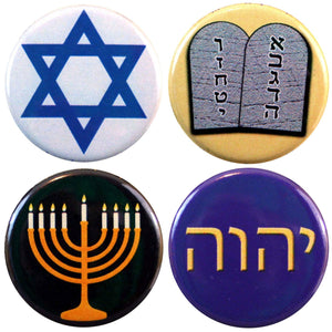 "Buttonsmith® 1.25"" Jewish Refrigerator Magnets - Set of 4"