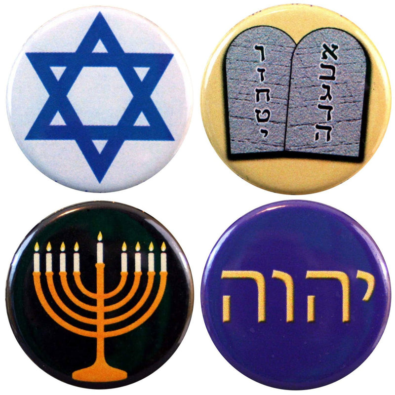 "Buttonsmith® 1.25"" Jewish Refrigerator Magnets - Set of 4 - Buttonsmith Inc."
