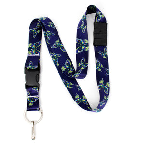 Buttonsmith Butterflies Breakaway Lanyard - with Buckle and Flat Ring - Based on Rebecca McGovern Art - Officially Licensed - Made in the USA