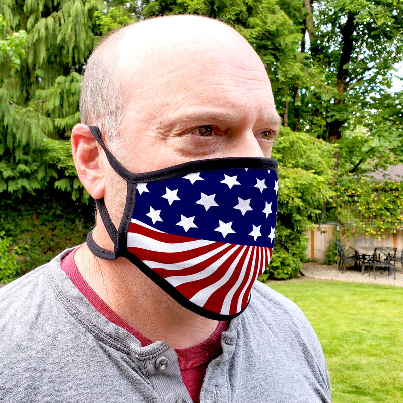Buttonsmith US Flag Adult XL Adjustable Face Mask with Filter Pocket - Made in the USA - Buttonsmith Inc.
