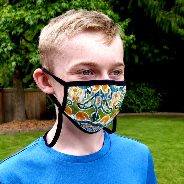 Buttonsmith Sugarsnap Adult XL Adjustable Face Mask with Filter Pocket - Made in the USA