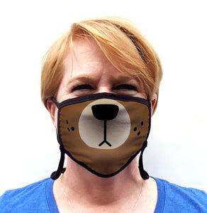 Buttonsmith Cartoon Bear Face Adult Adjustable Face Mask with Filter Pocket - Made in the USA