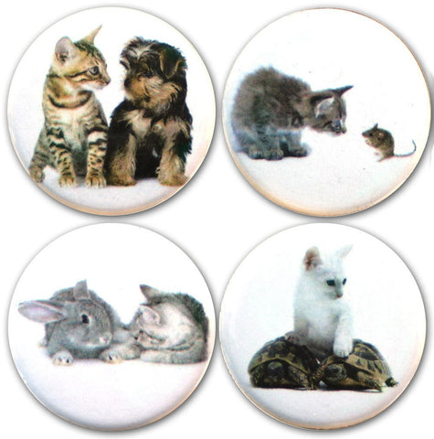 "Buttonsmith® 1.25"" Kittens and Friends Refrigerator Magnets - Set of 4"