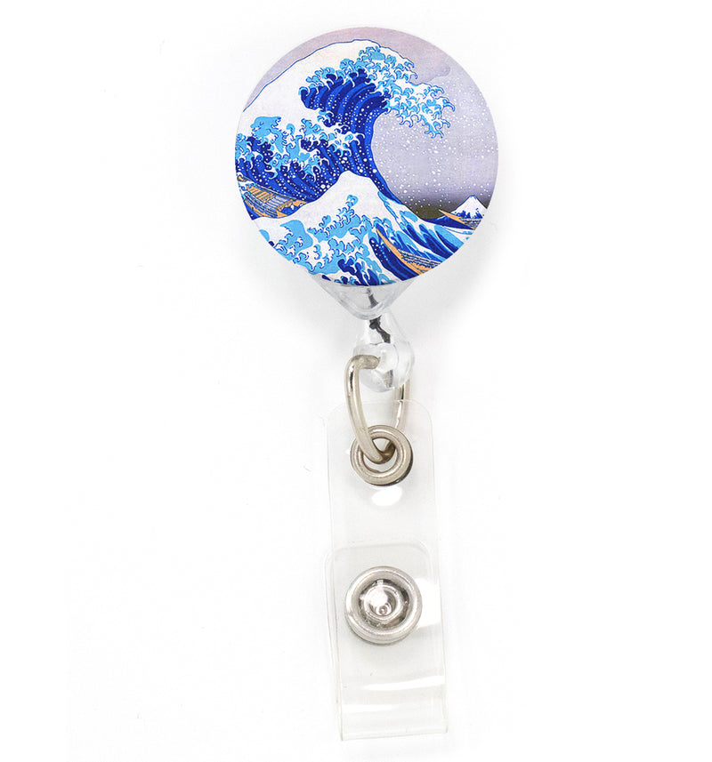 Buttonsmith Hokusai Great Wave Tinker Reel Retractable Badge Reel - Made in the USA - Buttonsmith Inc.
