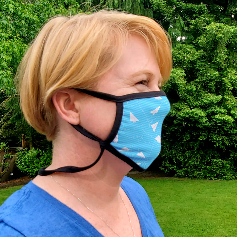 Buttonsmith Paper Airplanes Adult XL Adjustable Face Mask with Filter Pocket - Made in the USA - Buttonsmith Inc.