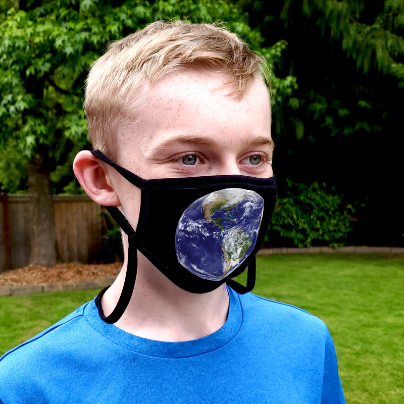 Buttonsmith Earth Adult XL Adjustable Face Mask with Filter Pocket - Made in the USA - Buttonsmith Inc.
