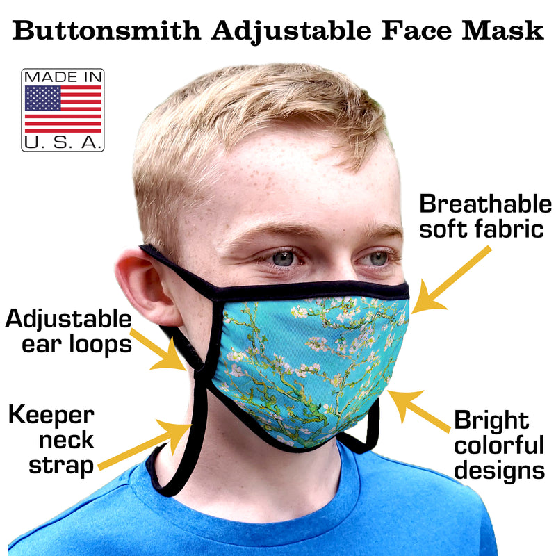 Buttonsmith Van Gogh Almond Blossoms Youth Adjustable Face Mask with Filter Pocket - Made in the USA - Buttonsmith Inc.