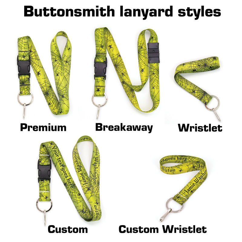 Buttonsmith Spider Web Halloween Premium Lanyard - Made in USA - Buttonsmith Inc.