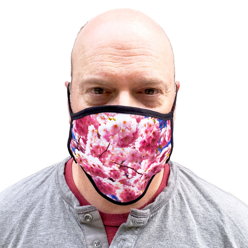 Buttonsmith Cherry Blossoms Adult XL Adjustable Face Mask with Filter Pocket - Made in the USA - Buttonsmith Inc.