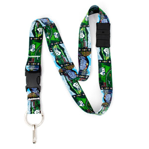 Buttonsmith Farm Houses Breakaway Lanyard - with Buckle and Flat Ring - Based on Rebecca McGovern Art - Officially Licensed - Made in the USA