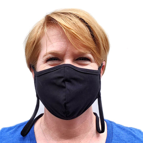 Cotton Adjustable Face Mask with Filter Pocket and Retaining Strap - Made in the USA