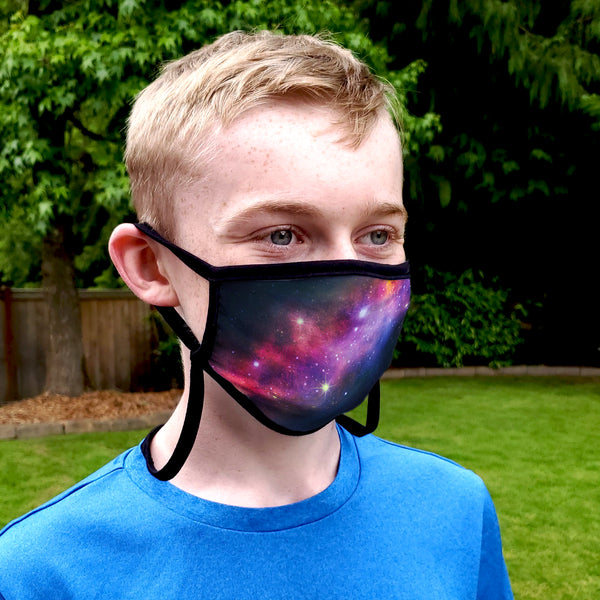 Buttonsmith Milky Way Child Face Mask with Filter Pocket - Made in the USA