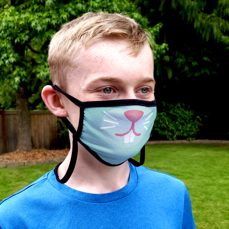 Buttonsmith Cartoon Bunny Face Adult Adjustable Face Mask with Filter Pocket - Made in the USA - Buttonsmith Inc.