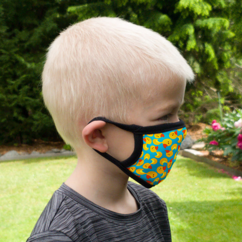Buttonsmith Rubber Ducks Youth Adjustable Face Mask with Filter Pocket - Made in the USA - Buttonsmith Inc.
