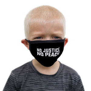 Buttonsmith No Justice No Peace Child Face Mask with Filter Pocket - Made in the USA