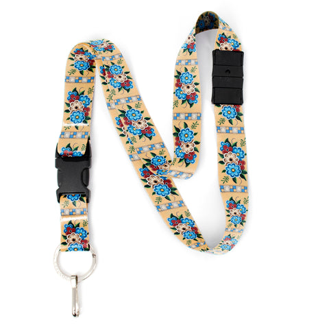 Buttonsmith Quilted Flowers Breakaway Lanyard - with Buckle and Flat Ring - Based on Rebecca McGovern Art - Officially Licensed - Made in the USA