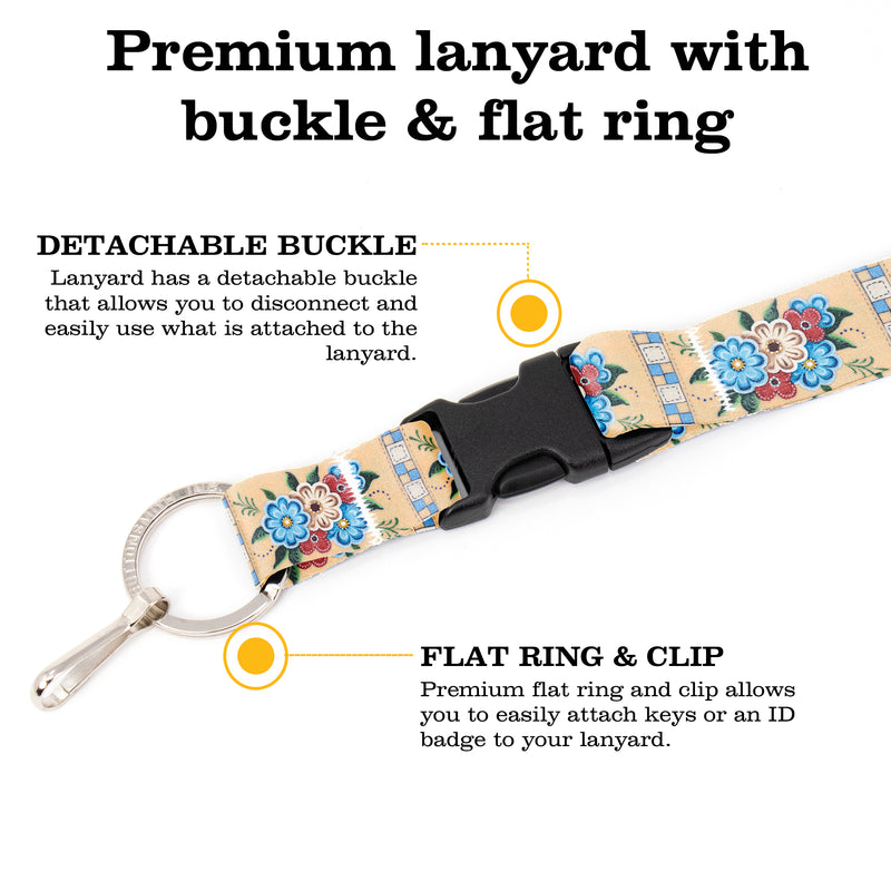 Buttonsmith Quilted Flowers Breakaway Lanyard - with Buckle and Flat Ring - Based on Rebecca McGovern Art - Officially Licensed - Made in the USA - Buttonsmith Inc.