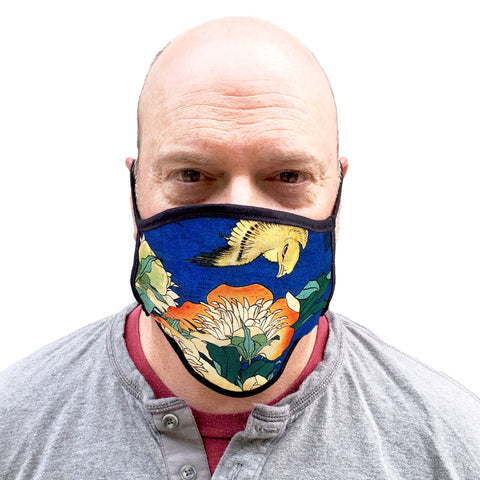 Buttonsmith Hokusai Canary & Peony Adult XL Adjustable Face Mask with Filter Pocket - Made in the USA