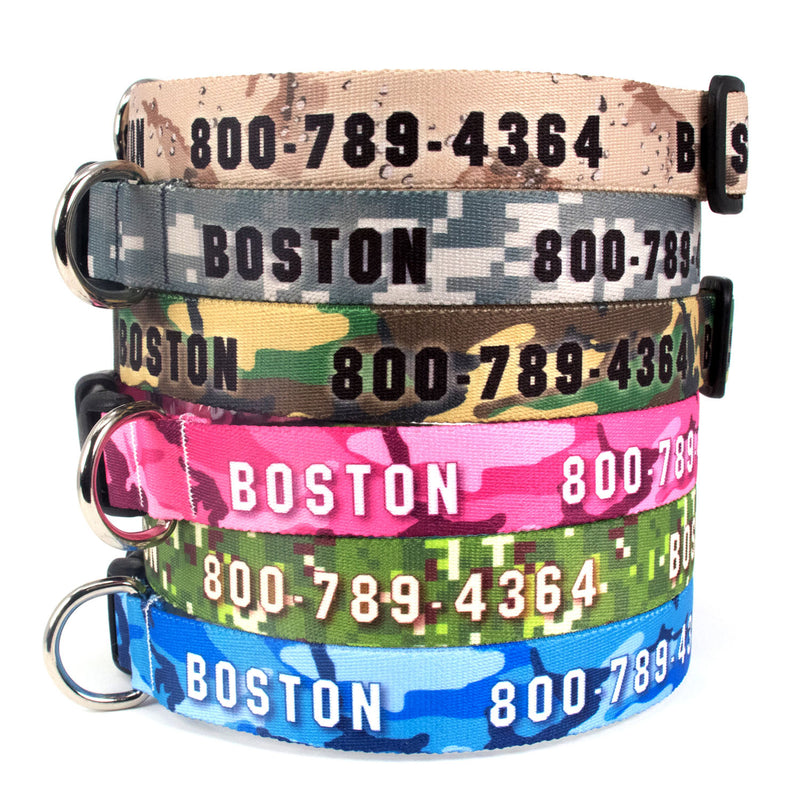 Custom Personalized Dog Collars - Camo Designs - Made in USA - Buttonsmith Inc.