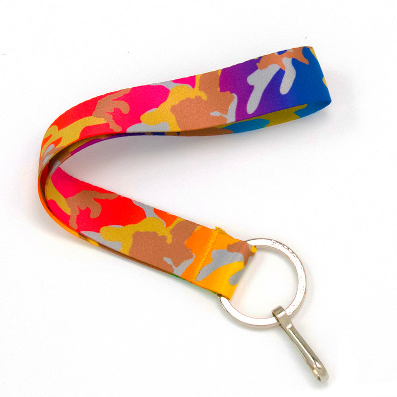Buttonsmith Rainbow Camo Wristlet Lanyard Made in USA - Buttonsmith Inc.