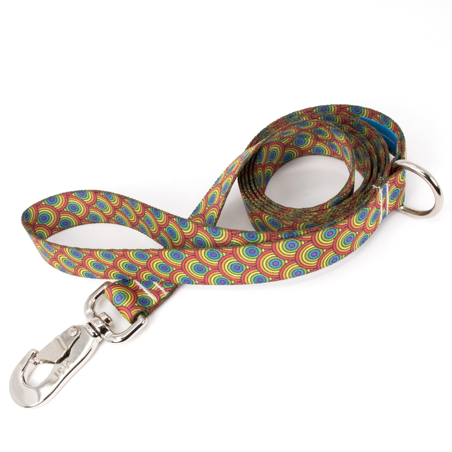 Buttonsmith Rainbow Arches Dog Leash Fadeproof Made in USA