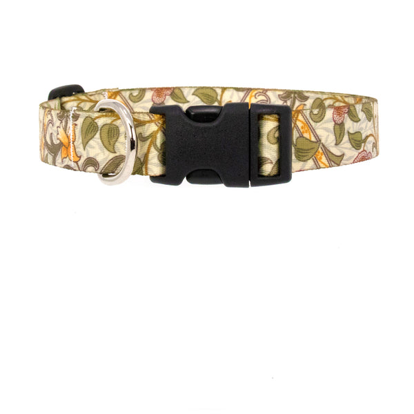 Buttonsmith William Morris Daffodil Art Dog Collar - Made in USA