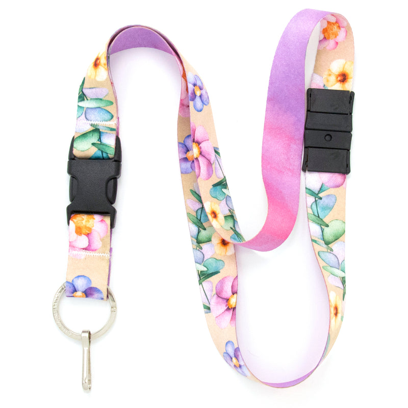 Buttonsmith Watercolor Flowers Breakaway Lanyard - Made in USA - Buttonsmith Inc.