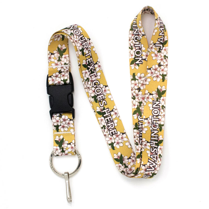 Buttonsmith Cherry Blossoms on Gold Custom Lanyard - Made in USA - Buttonsmith Inc.