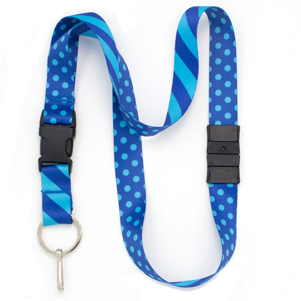 Buttonsmith Blue Dots Breakaway Lanyard - Made in USA