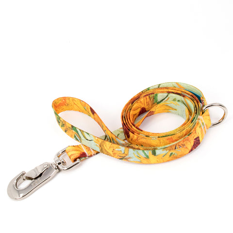 Buttonsmith Van Gogh Sunflowers Dog Leash Fadeproof Made in USA