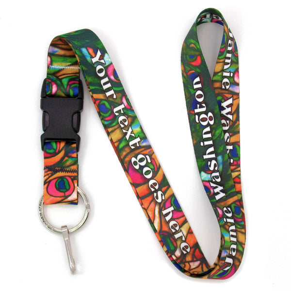 Buttonsmith Tiffany Peacock Custom Lanyard Made in USA