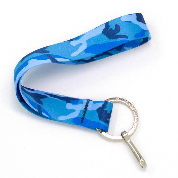 Buttonsmith Blue Camo Wristlet Lanyard - Made in USA