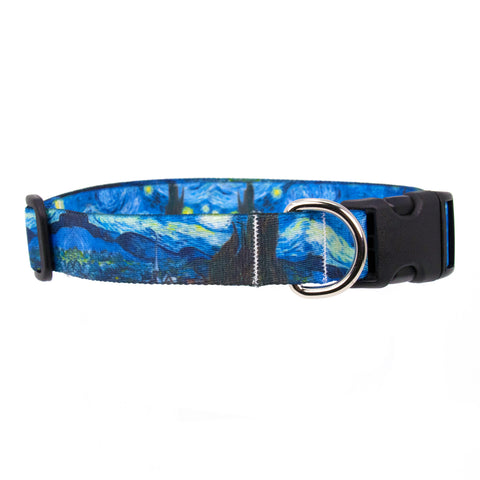 Buttonsmith Van Gogh Starry Night Art Dog Collar - Made in USA