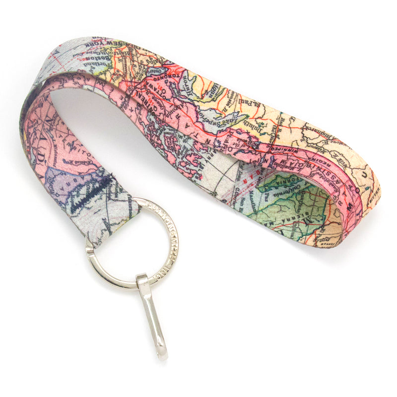 Buttonsmith Map Wristlet Lanyard Made in USA - Buttonsmith Inc.