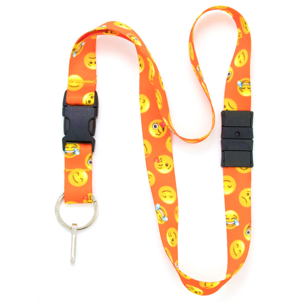 Buttonsmith Emoji Orange Breakaway Lanyard - Made in USA