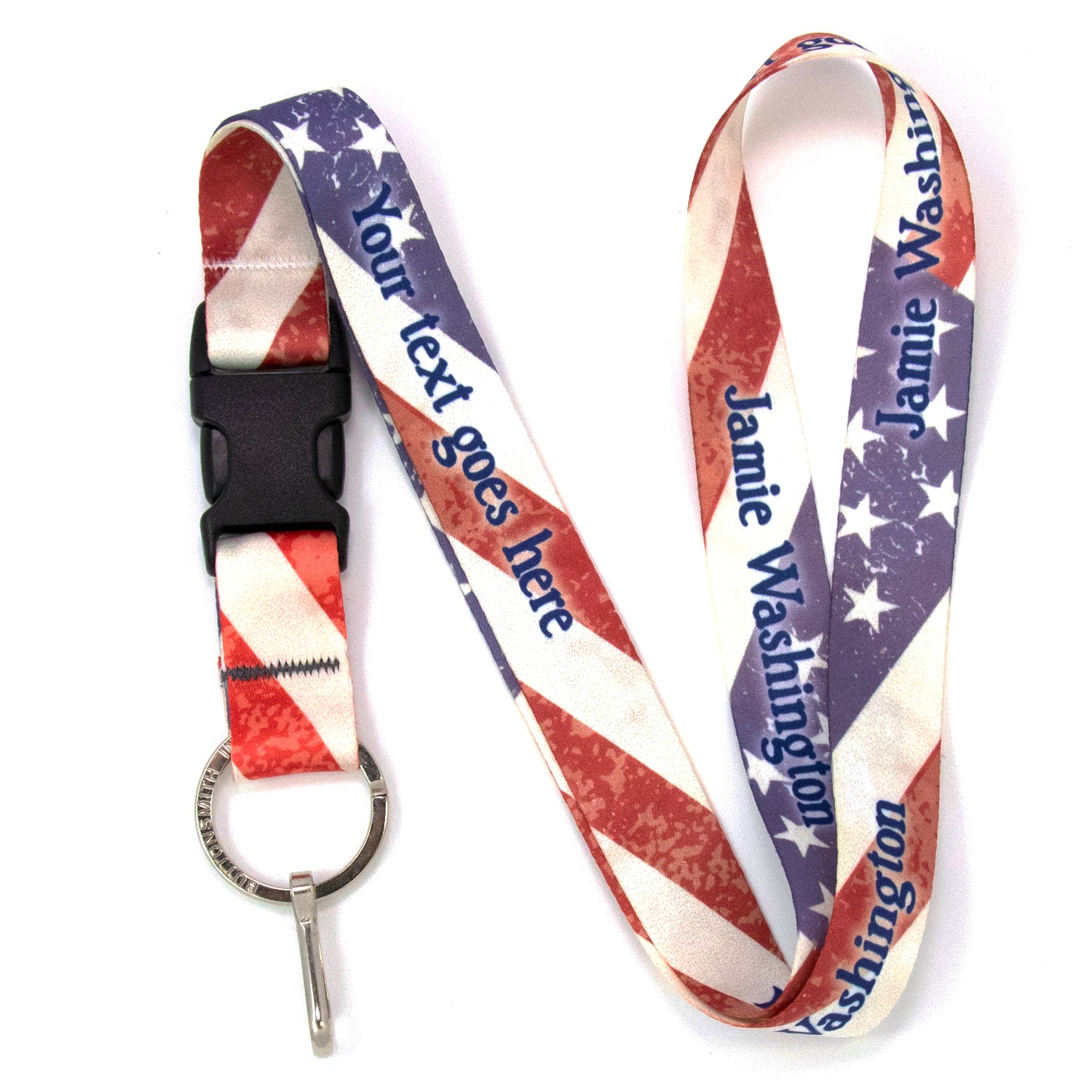 Buttonsmith Old Glory Custom Lanyard Made in USA