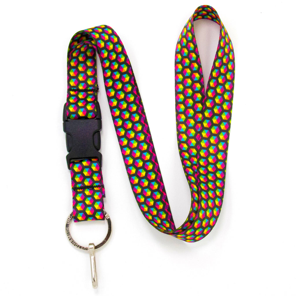 Buttonsmith Rainbow Hexes Lanyard - Made in USA