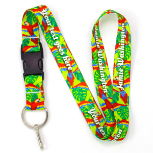 Buttonsmith Scarlet Macaw Custom Lanyard Made in USA