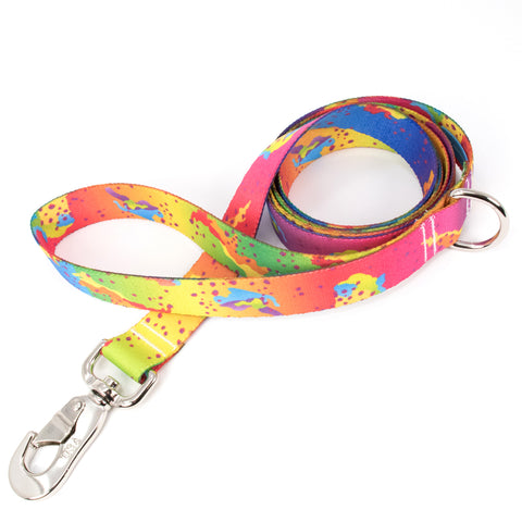 Buttonsmith Rainbow Camo Chip Dog Leash Fadeproof Made in USA