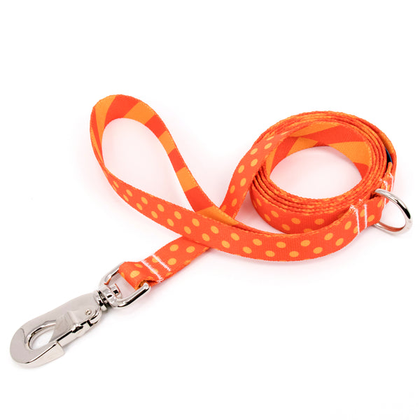 Buttonsmith Orange Dots Dog Leash Fadeproof Made in USA