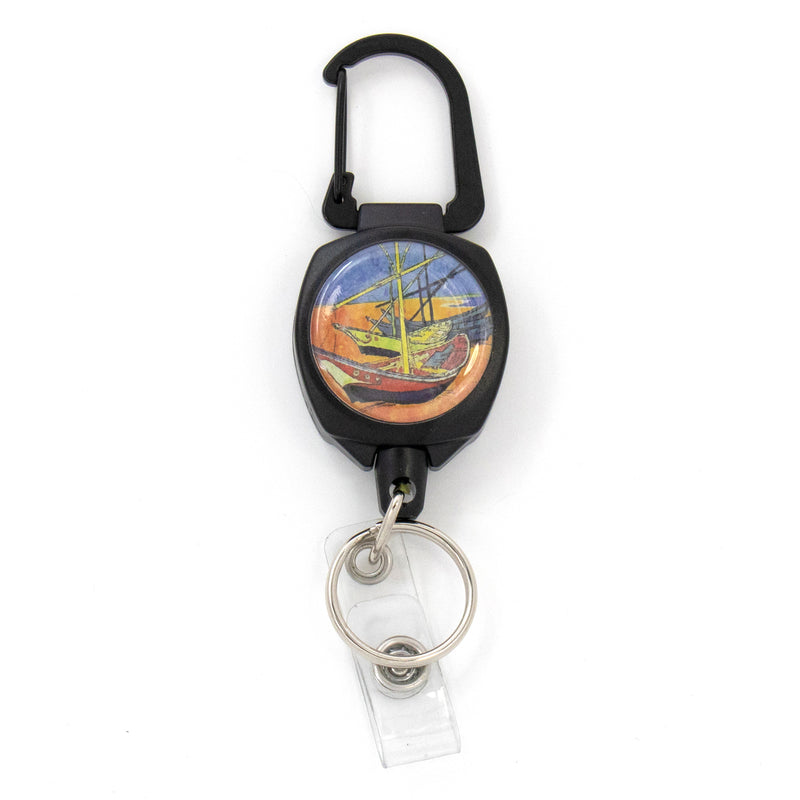 Buttonsmith® Van Gogh Fishing Boats Heavy Duty Sidekick Badge Reel - Made in USA - Buttonsmith Inc.