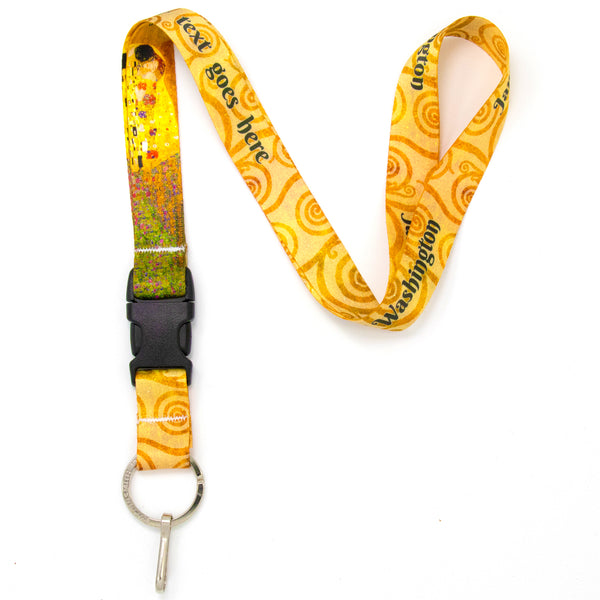 Buttonsmith Gustav Klimt Kiss Custom Lanyard - Made in USA