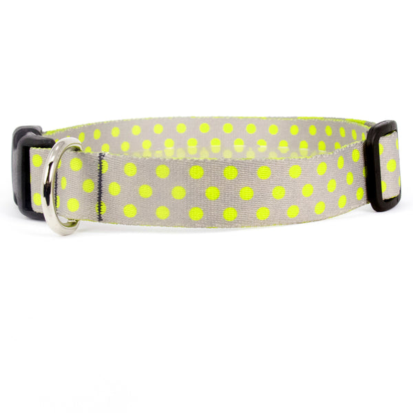 Buttonsmith Pewter Lime Dots Dog Collar - Made in USA