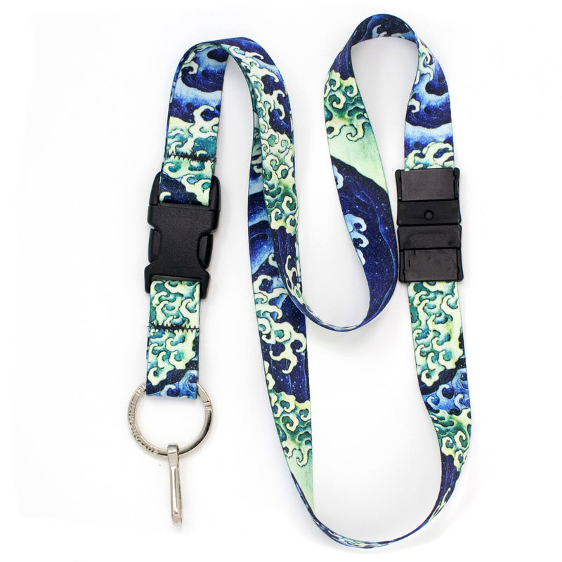 Buttonsmith Hokusai Waves Breakaway Lanyard - Made In USA - Buttonsmith Inc.